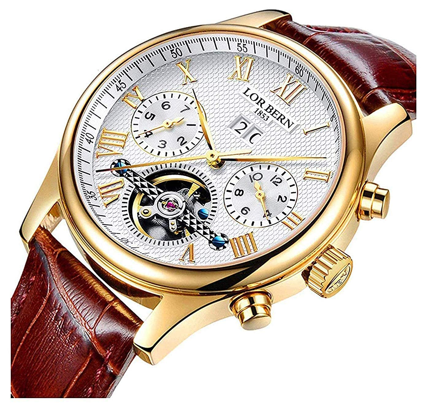 66b85b0f0 Amazon.com: Swiss Brands Mens Automatic Mechanical Wrist Watches Gold  Silver Stainless Steel Date Skeleton Watch (Brown Leather): Watches
