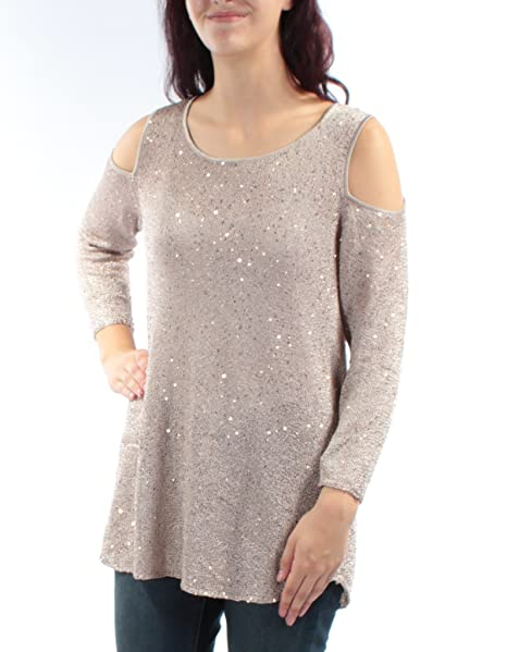 4a1cd9bb61e9a Alfani Women s Sequin Cold Shoulder Sweater at Amazon Women s Clothing  store