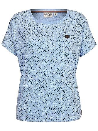 NAKETANO Schnatternatter Eule V T Shirt für Damen Blau