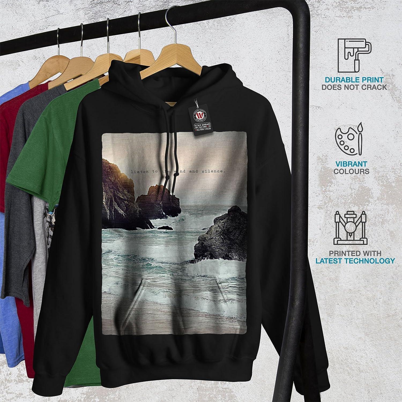 Ocean Hooded Sweatshirt wellcoda Wind Slience Sea Nature Mens Hoodie