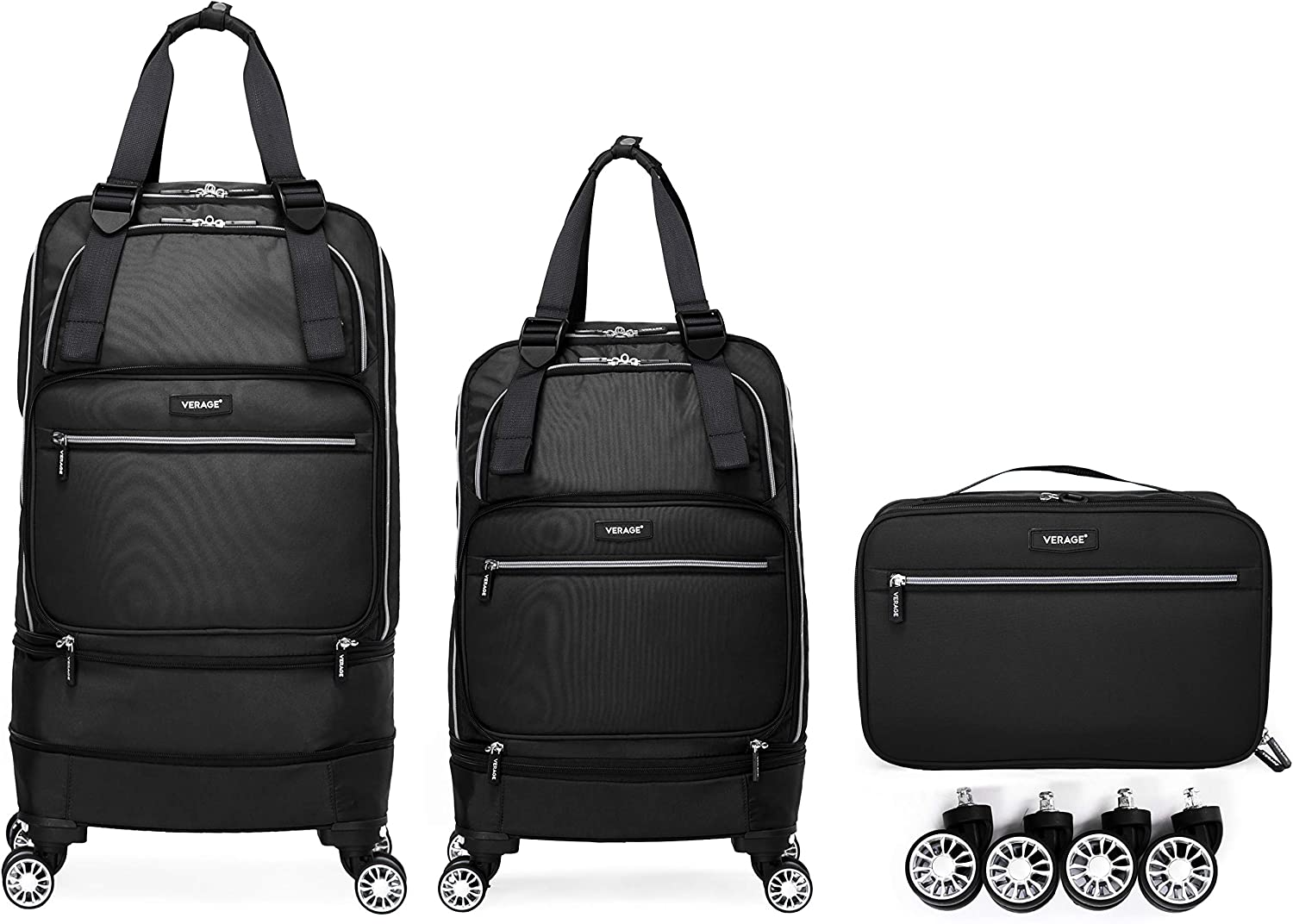 Foldable Luggage Bag with Spinner wheels,Expandable Collapsible Rolling Duffel Bag,Carry On Luggage 22x14x9/Checked Luggage for Travel (2 in 1), Black