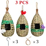NEKLJJ Hummingbird Bird House for Outdoor Hanging - Bird House for Outside with Hooks and Ropes and Artificial Flowers…