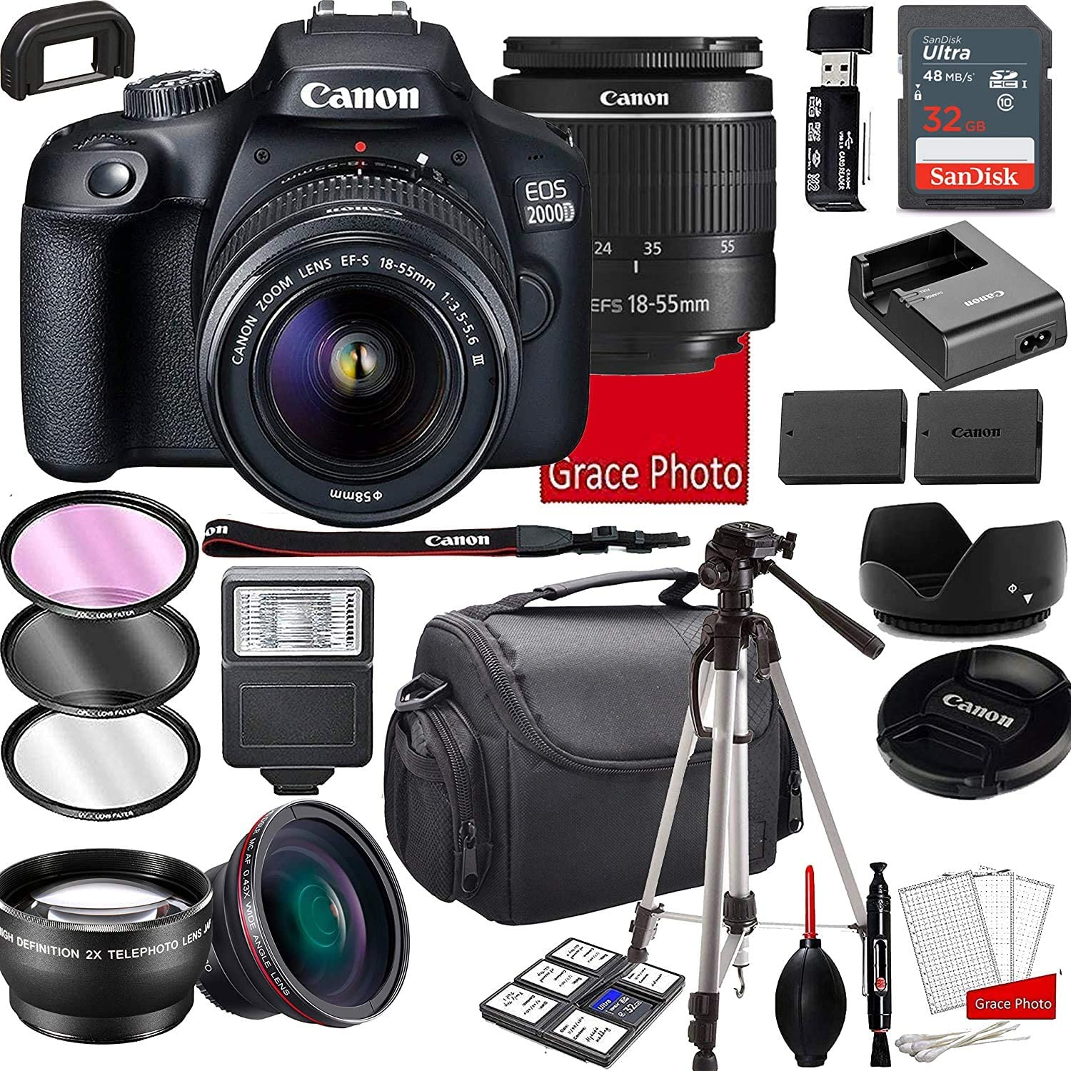 Canon EOS 2000D (Rebel T7) DSLR Camera with 18-55mm f/3.5-5.6 Zoom Lens, 32GB Memory, Shoulder Case, Tripod and Accessories (28pc Bundle)