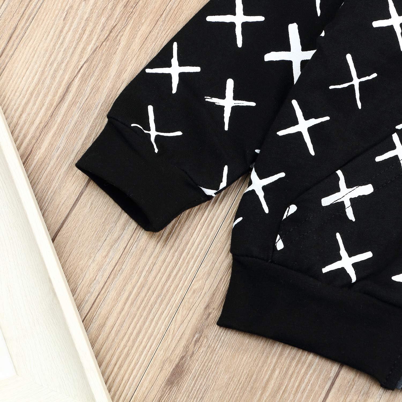 Toddler Baby Boy Clothes Hoodie Top 3D Dinosaur Cross Print Zipper Sweatshirt Black Jacket Outfits