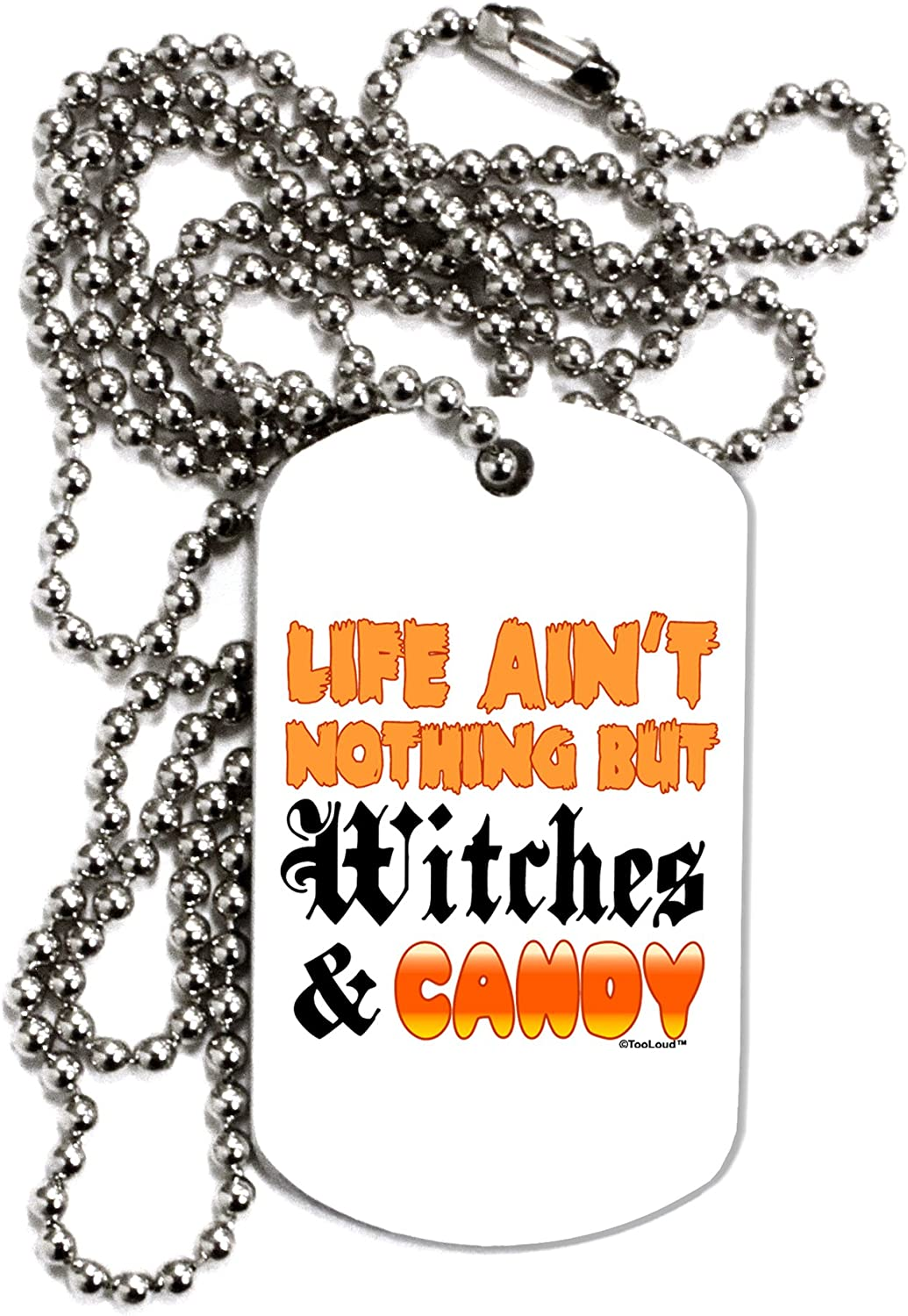 TOOLOUD Witches and Candy Color Adult Dog Tag Chain Necklace