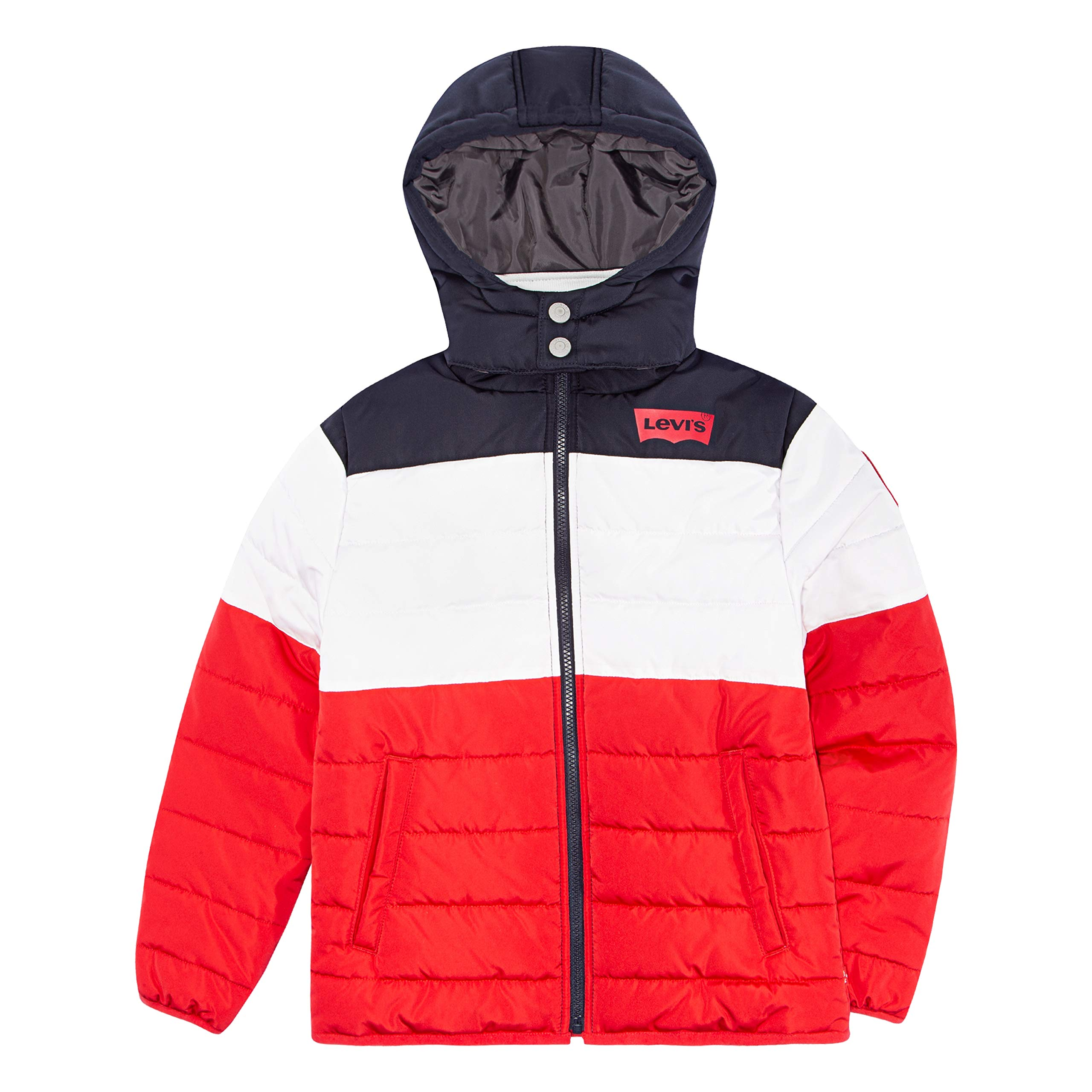 Levi's Big Boys' Puffer Jacket, White/Red/Navy, L by Levi's