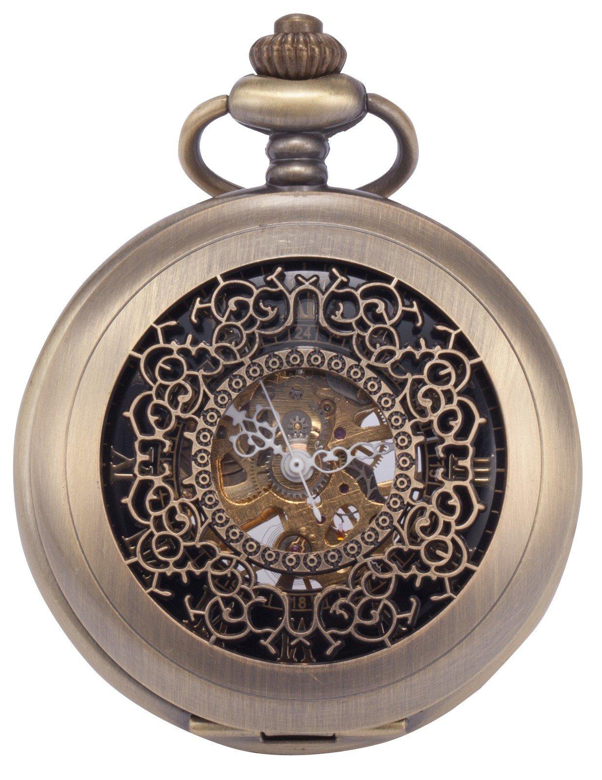 AMPM24 Vintage Men's Mechanical Pocket Watch Brass Tone + Chain WK914