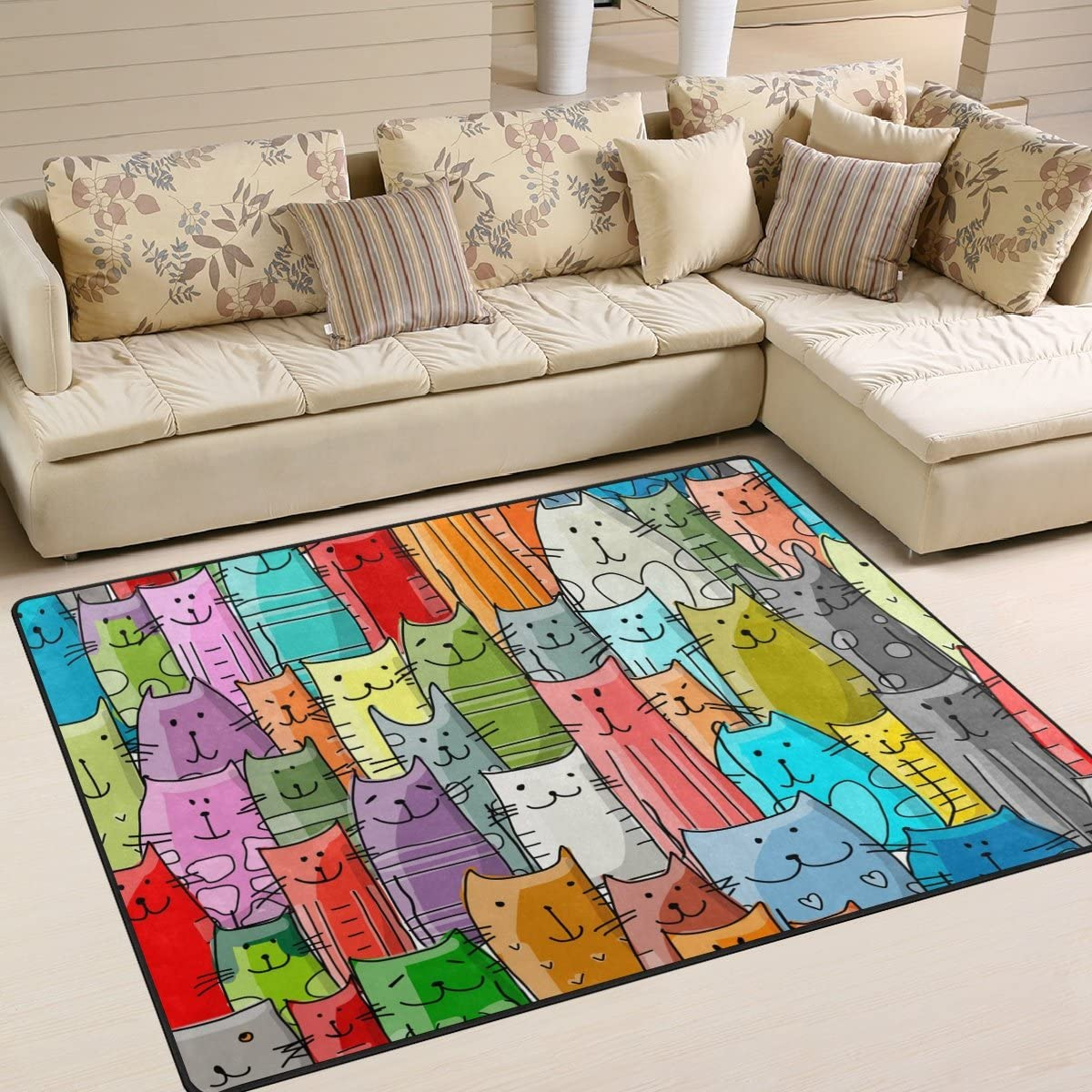 Naanle Colorful Animal Area Rug 5'x7', Funny Cats Family Pattern Polyester Area Rug Mat for Living Dining Dorm Room Bedroom Home Decorative
