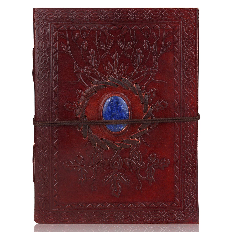 Zap Impex® Agenda, diario e quaderno per appunti realizzato in cuoio con pietra dura, perfetto come idea regalo, dimensioni 18 x 14 cm Zap Impex® Agenda Zap Impex ®
