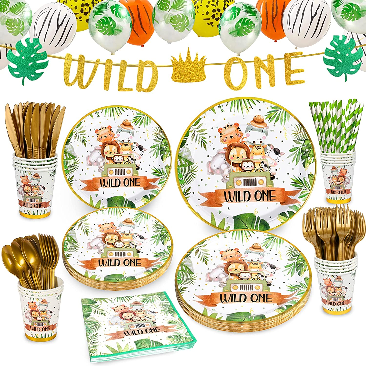 Wild One Brithday Decorations,Jungle Theme Party Supplies,Wild One Party Plates and Napkins Including Plates,Napkins,Cutlery,Cups, Banner,Jungle Balloons for Baby Shower Birthday Party Decorations