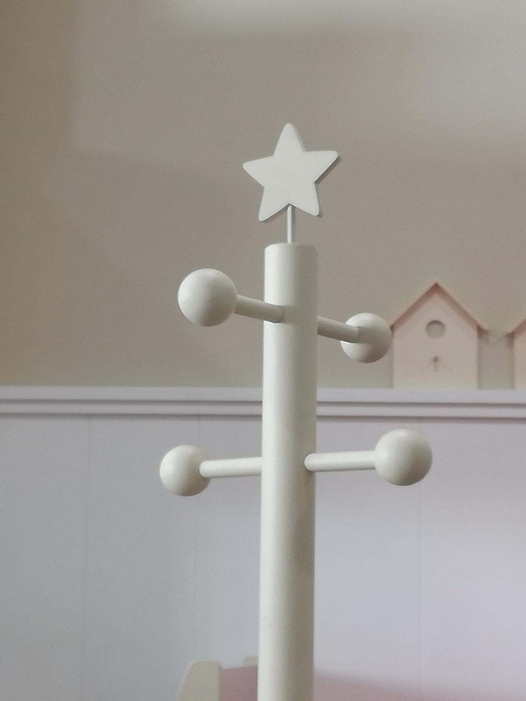 greca Perchero Infantil Lacado. Percha árbol Modelo York. para Dormitorio Infantil. (Blanco)