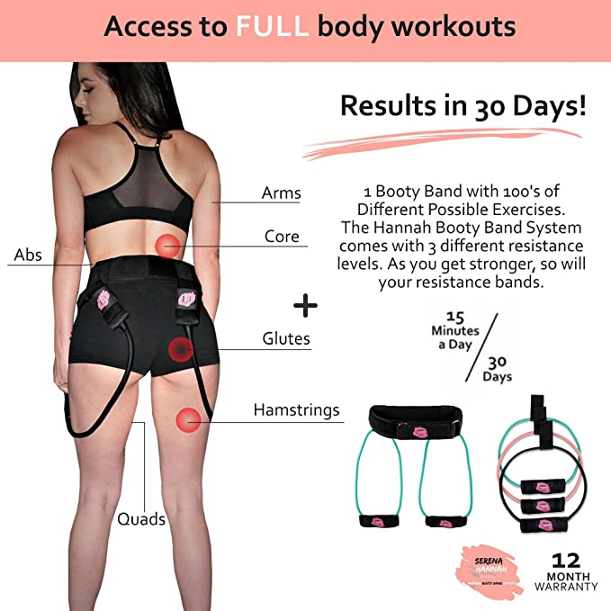 Amazon.com : Hannah Booty Band System with Workout Videos, 30 Day Calendar,  Nutritional Guide, Full Brazilian Butt Lift Workout Program.