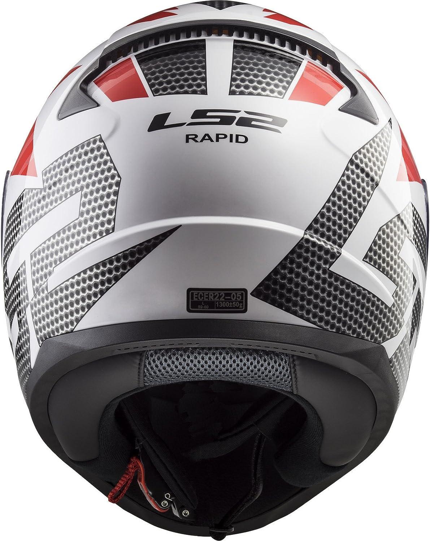 LS2 Casco de moto RAPID GRID Blanco Rojo, Blanco/Negro/Rojo, XS