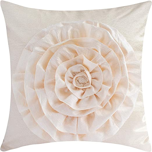 Plum- Gold /& Silver, 18x18 inches The White Petals Plum Decorative Throw Pillow Cover Flower Pattern