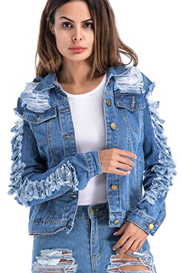 Vemubapis Women Ripped Holes Single Breasted Denim Trucker Jacket Jeans Coat at Amazon Womens Coats Shop
