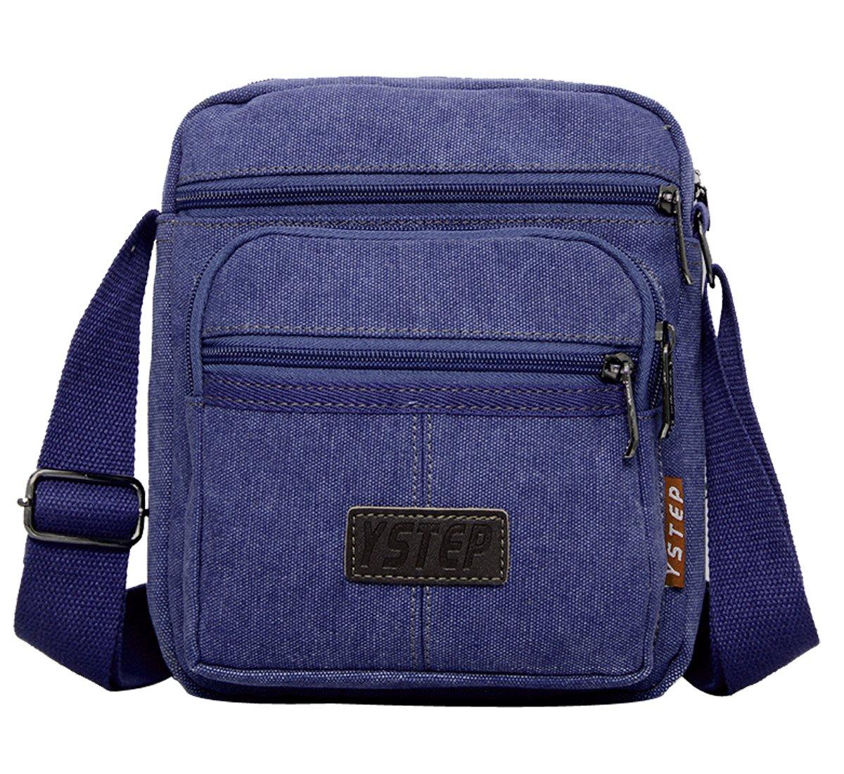 Degohome Vintage Canvas Crossbody Shoulder Bag Small Messenger Travel Bag For Men & Women (darkblue)