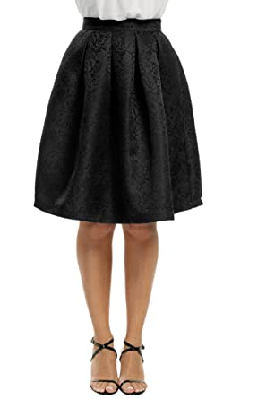 8ba0e3790403 Image Unavailable. Image not available for. Color: Meaneor Women's Black  Basic Flared High Waist Midi Skater Skirt ...