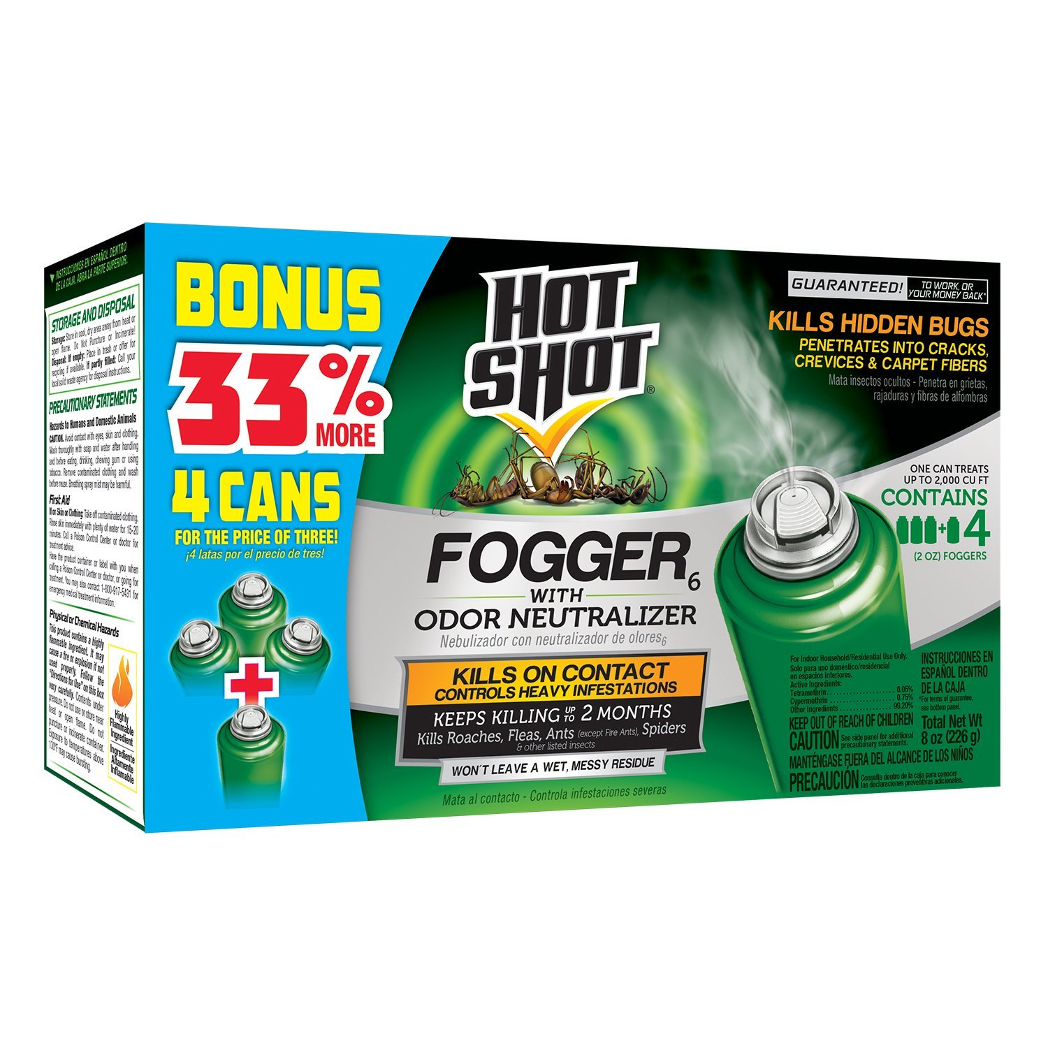 Hot Shot IUffHDUH 96181 Indoor Pest Control Fogger, 4-Count Bonus Size, 2 Pack by Hot Shot (Image #2)