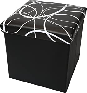 "Otto & Ben 15"" Storage Ottoman - Folding Toy Box Chest with Memory Foam Seat, Faux Leather Small Ottomans Bench Foot Rest Stool, Swirl Black"