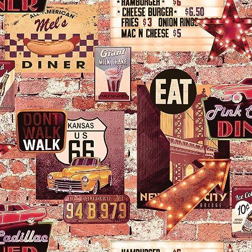American Diner Wallpaper USA Brick Effect Rustic Slate Cars Route 66 Retro