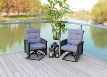 set of 2 swivel aluminum wicker patio chairs with cushions