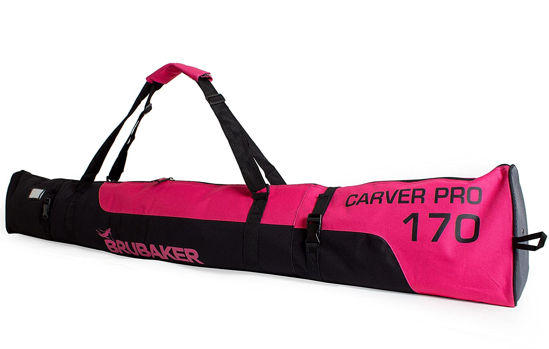 Brubaker Carver Pro 2.0' Bolsa Porta Esquís - Bolsa Deporte De Nieve Para Transportar Un Par De Esquís Y Bastones - Funda Reforzada - Rosa/Negro - 170 cms. ó 190cms.
