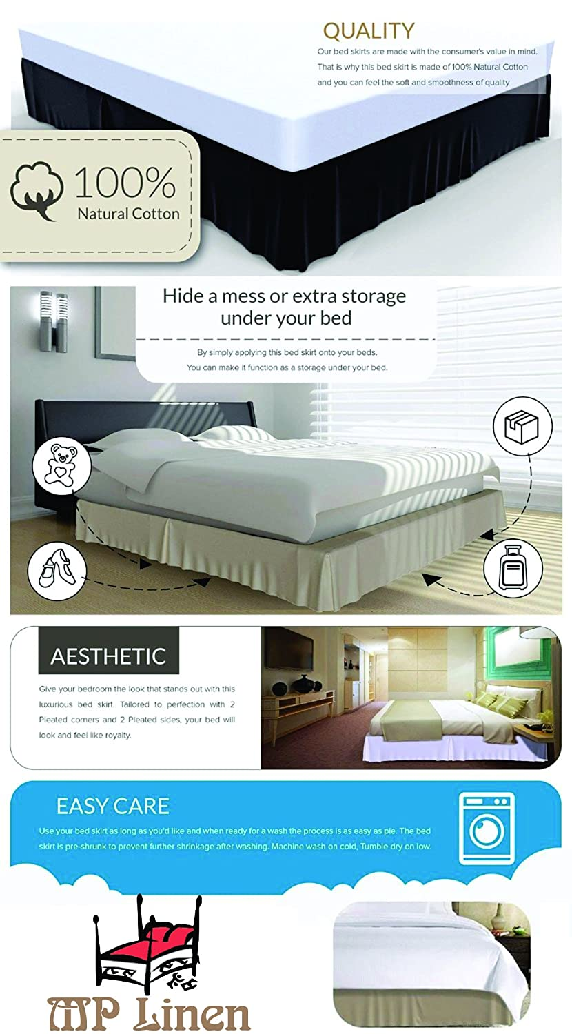"""14/"""" INCH DROP SOLID EASY FIT SET UP PLEATED ALL CORNERS 1 PC BED SKIRT SAGE"""