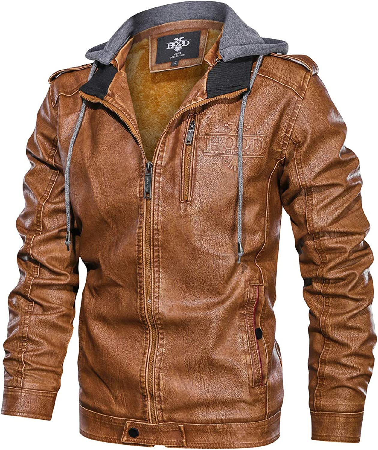 HOOD CREW Men/'s Black Brown Coffee Stand Collar Warm PU Faux Leather Zip-Up Motorcycle Jacket with a Removable Hood
