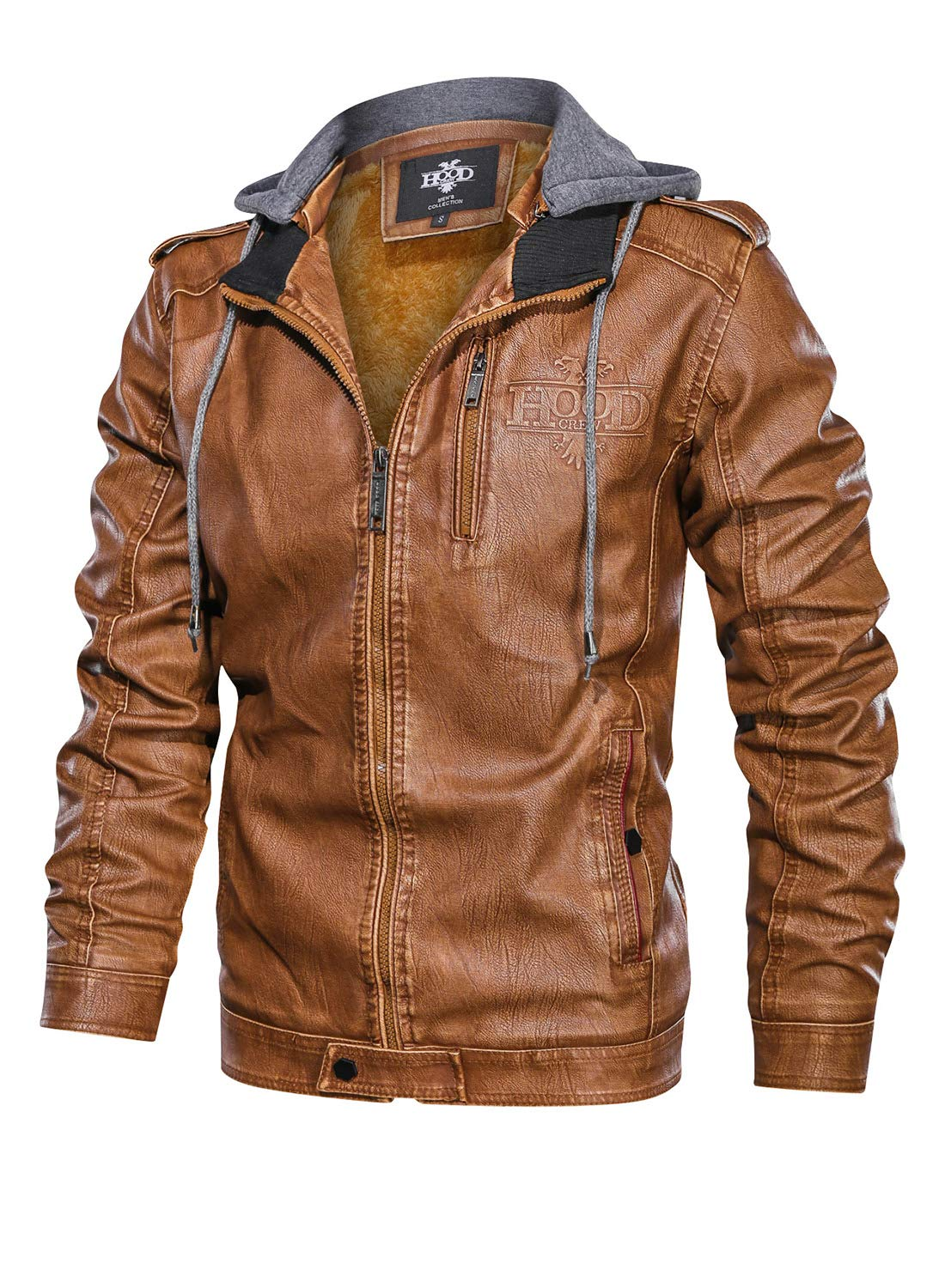 HOOD CREW Men's Brown Stand Collar Warm PU Faux Leather Zip-Up Motorcycle Jacket with a Removable Hood by HOOD CREW