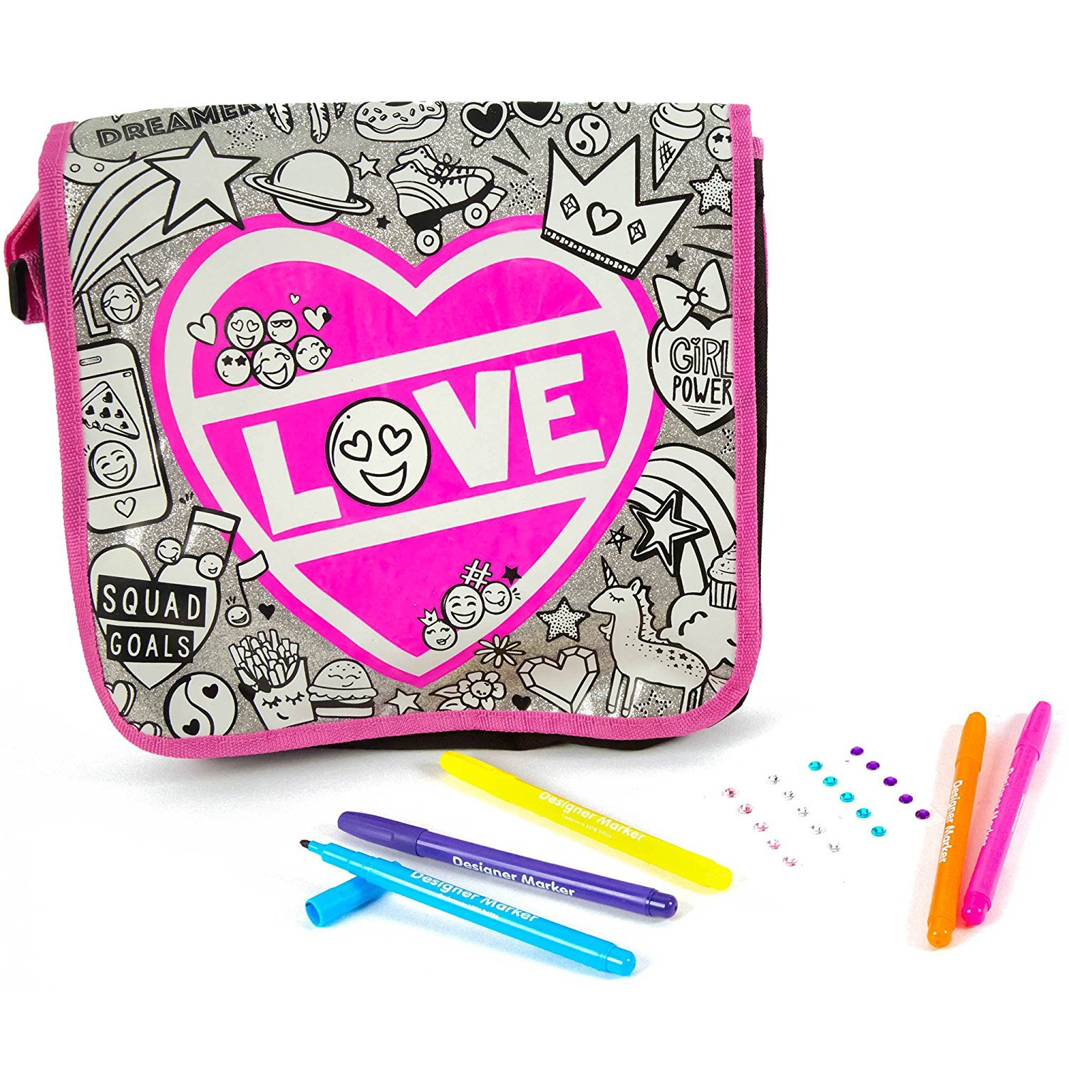 Just My Style Color Your Own Glitter Messenger Bag by Horizon Group USA by Just My Style (Image #2)