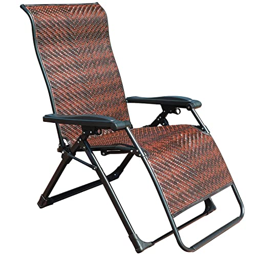 GOLDSUN Rattan Zero Gravity Reclining Chaise Lounger Adjustable Folding Lounge Chair for Garden Patio Beach Porch Swimming Pool,Outdoor and Indoor Use Rectangle Leg