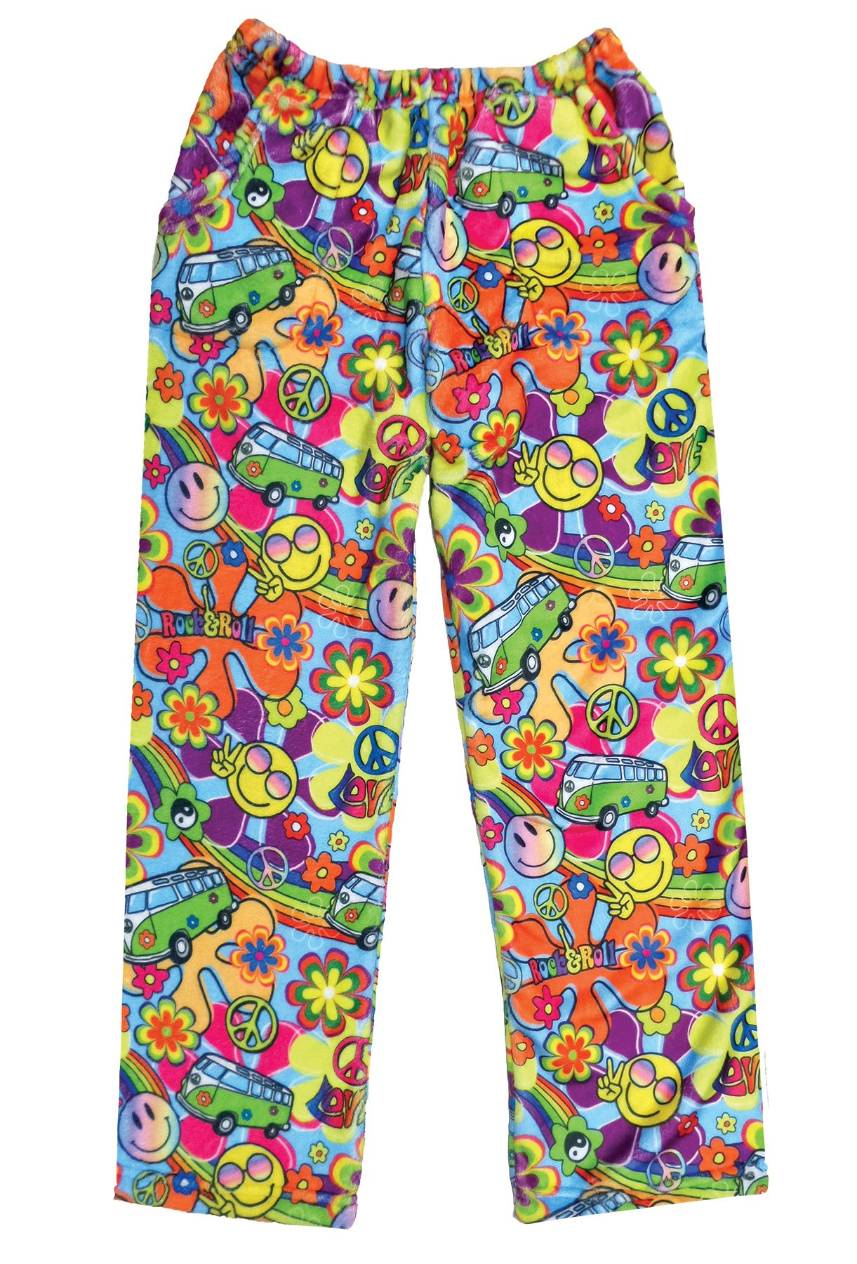 iscream Big Girls Fun Print Silky Soft Plush Pants - Summer of Love, Small