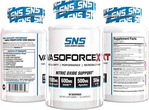 VasoForce XT- Nitric Oxide Support Supplement for Pumps, Vascularity, Performance More