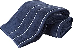 Luxury Cotton Towel Set- 2 Piece Bath Sheet Set Made From 100% Zero Twist Cotton- Quick Dry, Soft and Absorbent By Lavish Home (Navy / White)