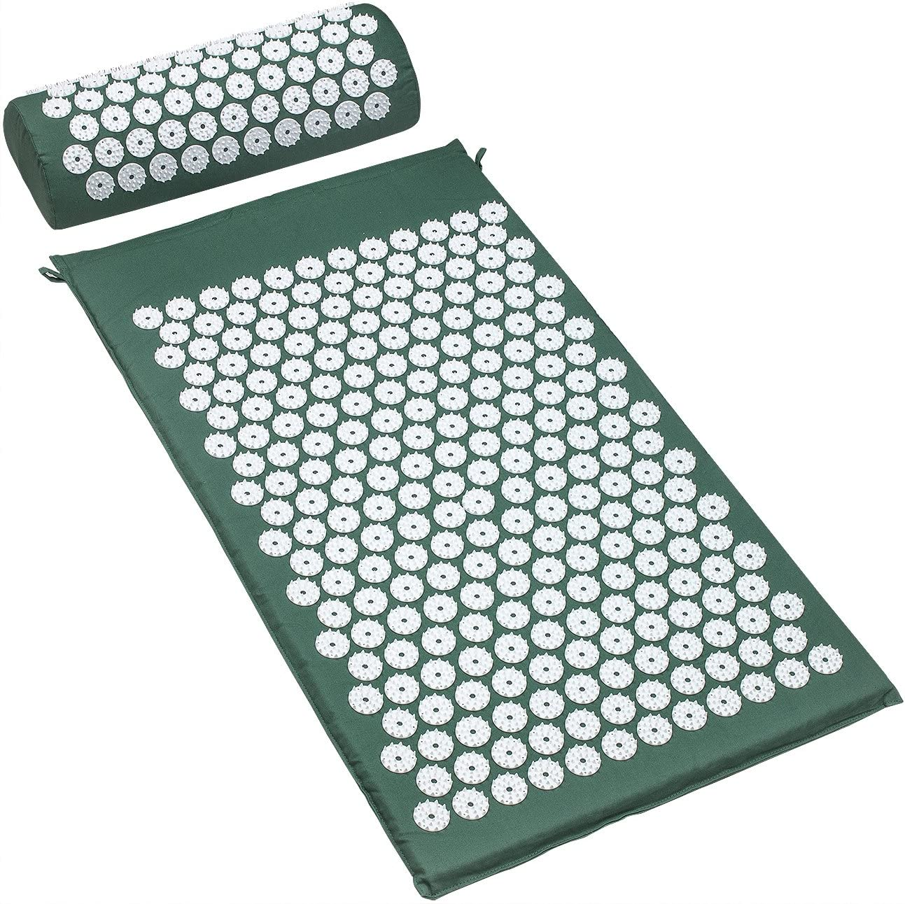 Acupressure Mat and Pillow Set, Back Pain Treatment & Neck Pain Relief - Green
