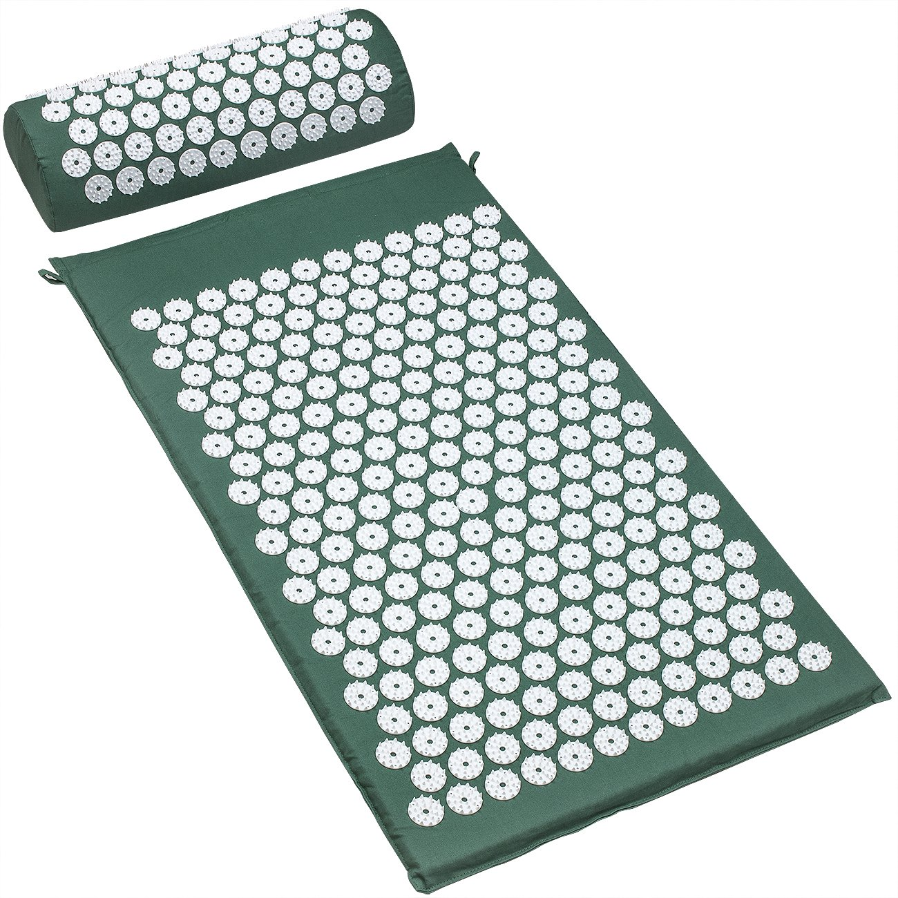 Sivan Back and Neck Pain Relief Acupressure Mat and Pillow Set, Chronic Back Pain Treatment - Relieves Your Stress of Lower Upper Back and Sciatic Pain - Green by Sivan Health and Fitness