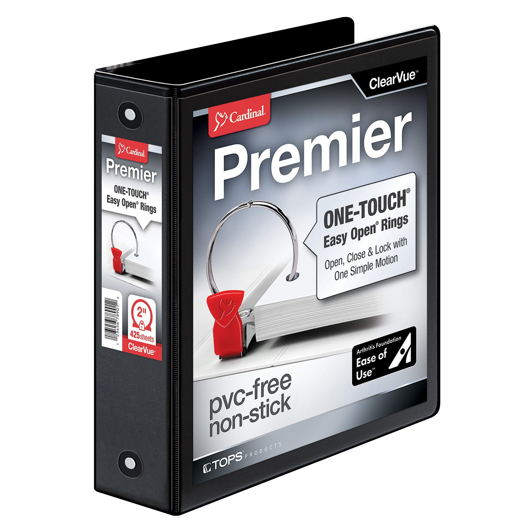 Cardinal Premier Easy Open 3-Ring Binder, 2'', ONE-TOUCH Easy Open Locking Round Rings, 425-Sheet Capacity, ClearVue Cover, PVC-Free, Black (11121)