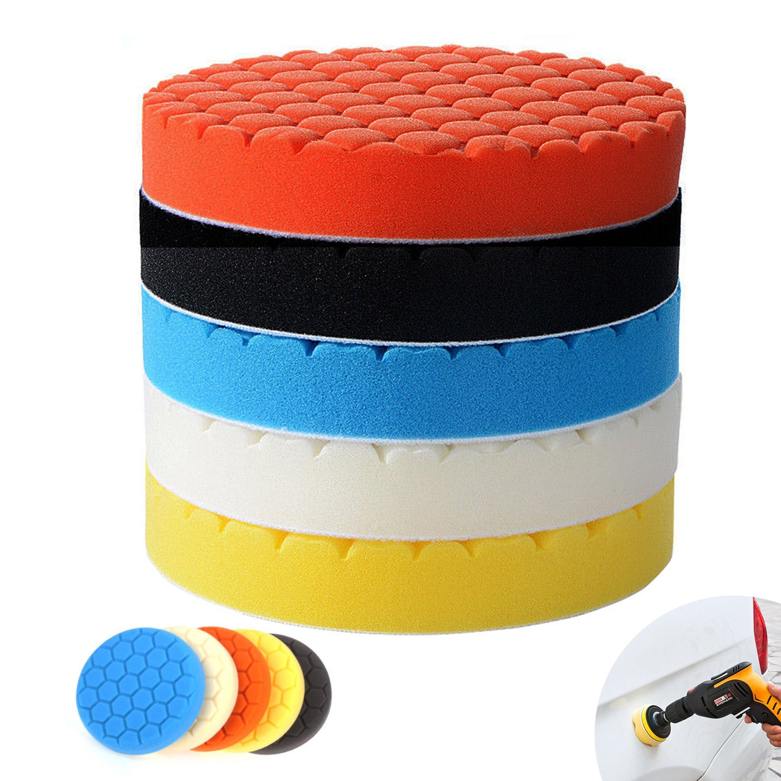 EEEKit 5-pack 7'' (180mm) Compound Drill Buffing Sponge Pads Polishing Pad for Car Polisher Boat Sanding, Polishing, Waxing, Sealing Glaze