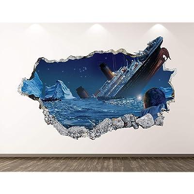 """West Mountain Titanic Wall Decal Art Decor 3D Passenger Ship Sticker Mural Kids Room Vinyl Custom Gift BL61 (30"""" W x 18"""" H): Home & Kitchen"""