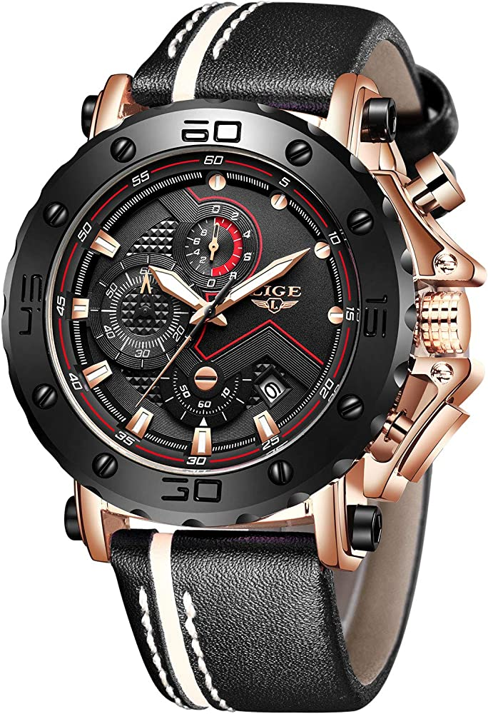 LIGE Relojes para Hombre Moda Acero Inoxidable Reloj analógico de Cuarzo Agua Hombres Negro Deportes Cronógrafo Reloj de Pulsera de Cuero (Negro Dorado): Amazon.es: Relojes