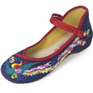 Eagsouni Womens Chinese Traditional Phoenix Embroidered Shoes Dancing Ballet Casual Loafers Oxfords Sole