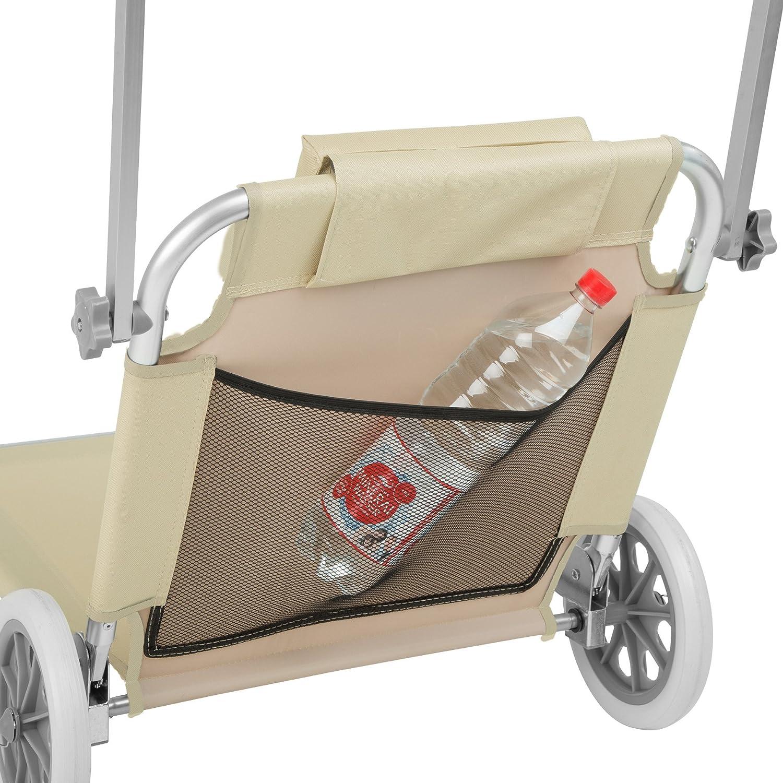TecTake 800536 Chaise Longue de Plage Bain de Soleil -diverses Couleurs au Choix- Beige | Nr. 402785 Chaise Longue /à roulettes 176 cm