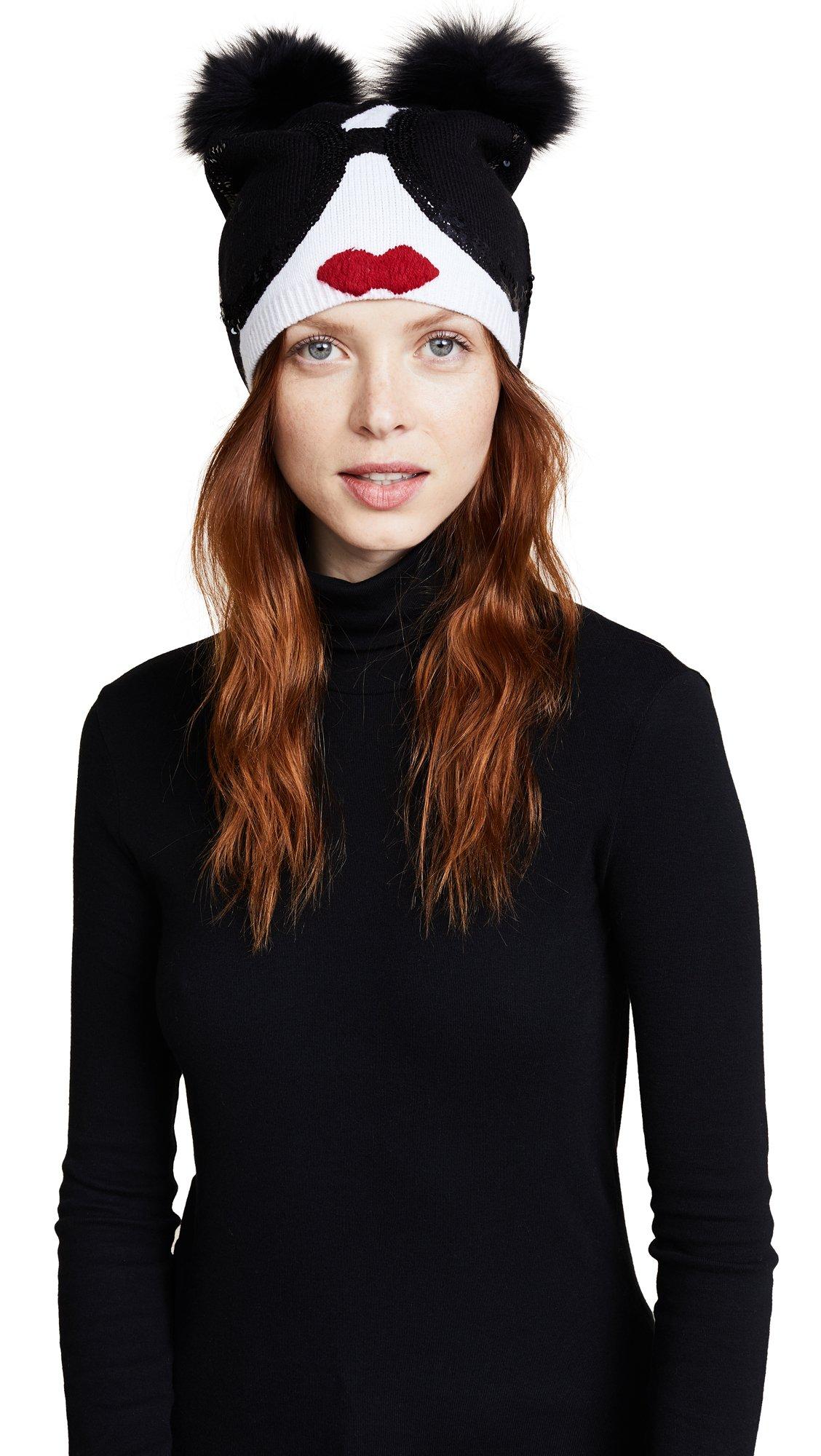 alice + olivia Women's Rinn Chunky Beanie with Fur Pom Poms, Black/White, One Size