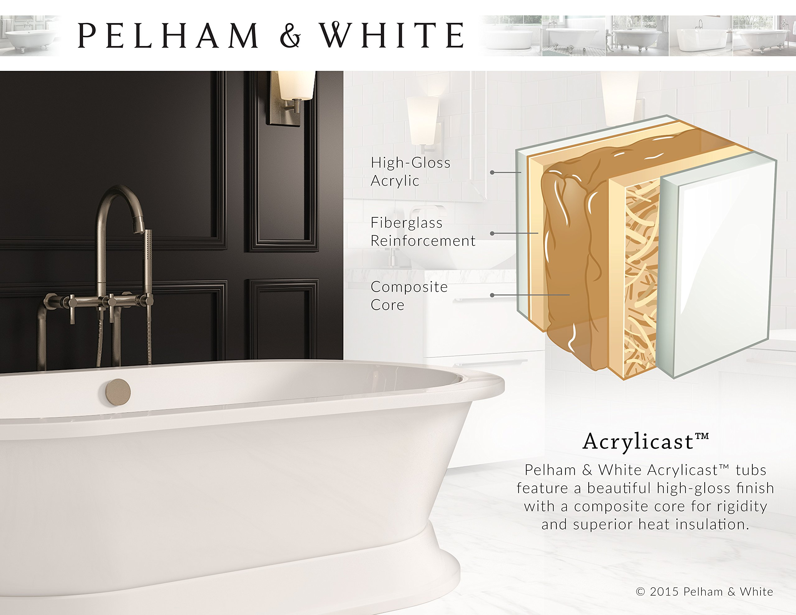 Luxury 60 inch Modern Clawfoot Tub in White with Stand-Alone Freestanding Tub Design, Includes Modern Brushed Nickel Cannonball Feet and Drain, From The Brookdale Collection by Pelham & White (Image #7)