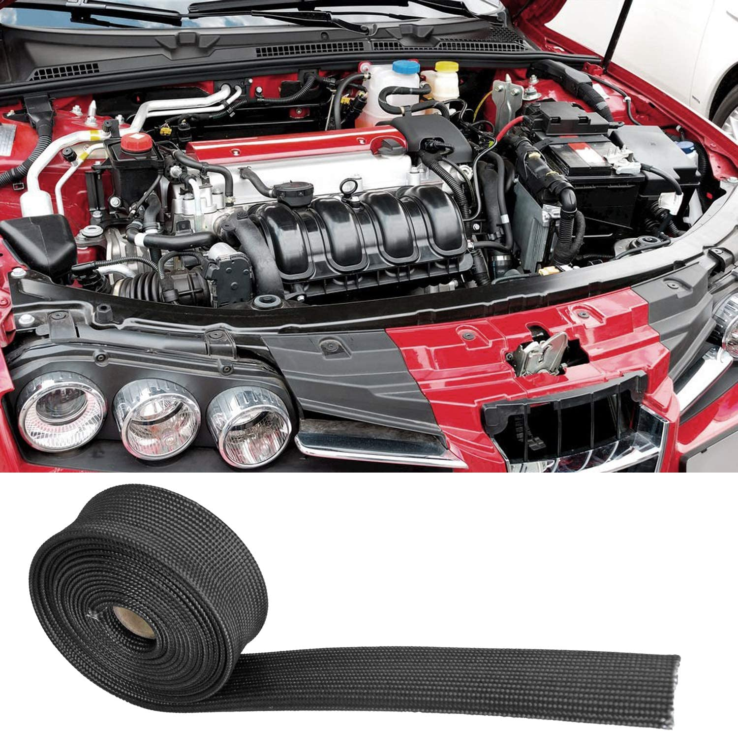 1 IDX 10 Adjustable Black Exhaust Heat Shield Spark Plug Wire Heat Shield Roll For Car/&Auto Wire Loom Heat Shield Brake Line Cable Heat Shield Fiberglass Heat Wrap Wire Shield Sleeve