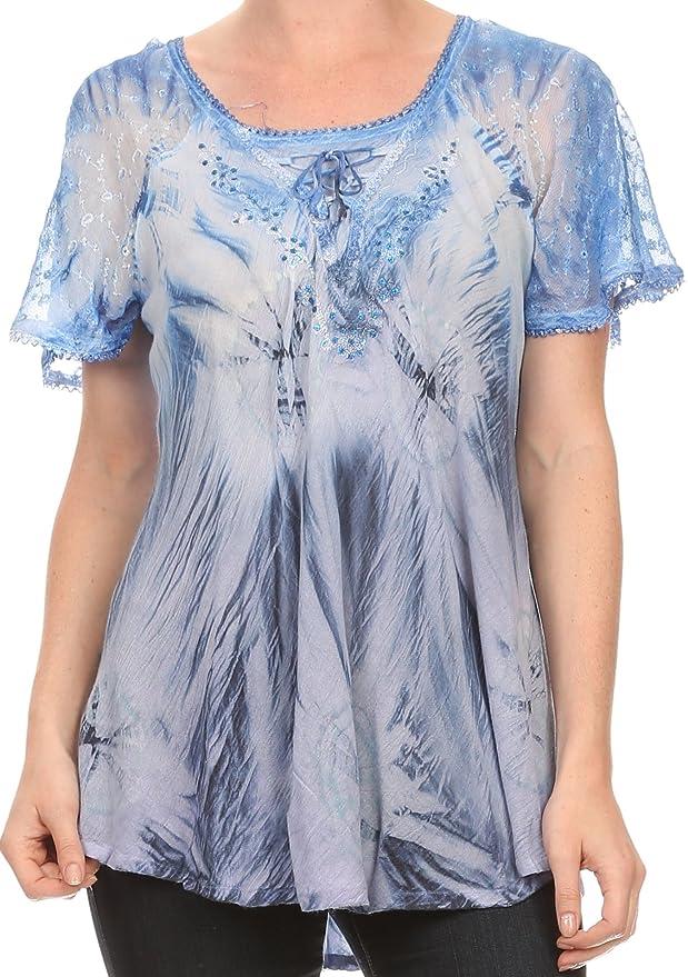 Sakkas Taylay Ombre del tinte del lazo del batik largo corsé bordado del cuello de la blusa top de la camisa: Amazon.es: Ropa y accesorios