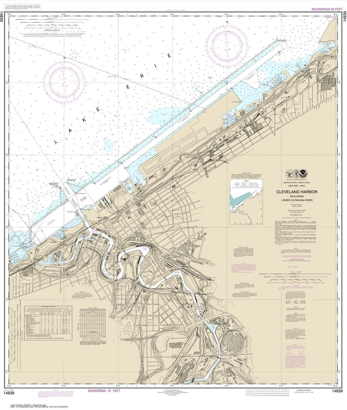 Paradise Cay Publications NOAA Chart 14839 including lower Cuyahoga River 41.3 x 35 TRADITIONAL PAPER Cleveland Harbor