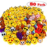 "Dreampark 80 Pack Emoji Keychain Mini Plush Poop Pillows, Party Favors for Kids, Christmas / Birthday Party Supplies, Emoticon School Backpack Clips Gifts Toys Prizes for Kids, 2"" Set of 80"