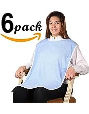 6PK - Super Soft 100% Terry Cloth Adult Bib with Closure