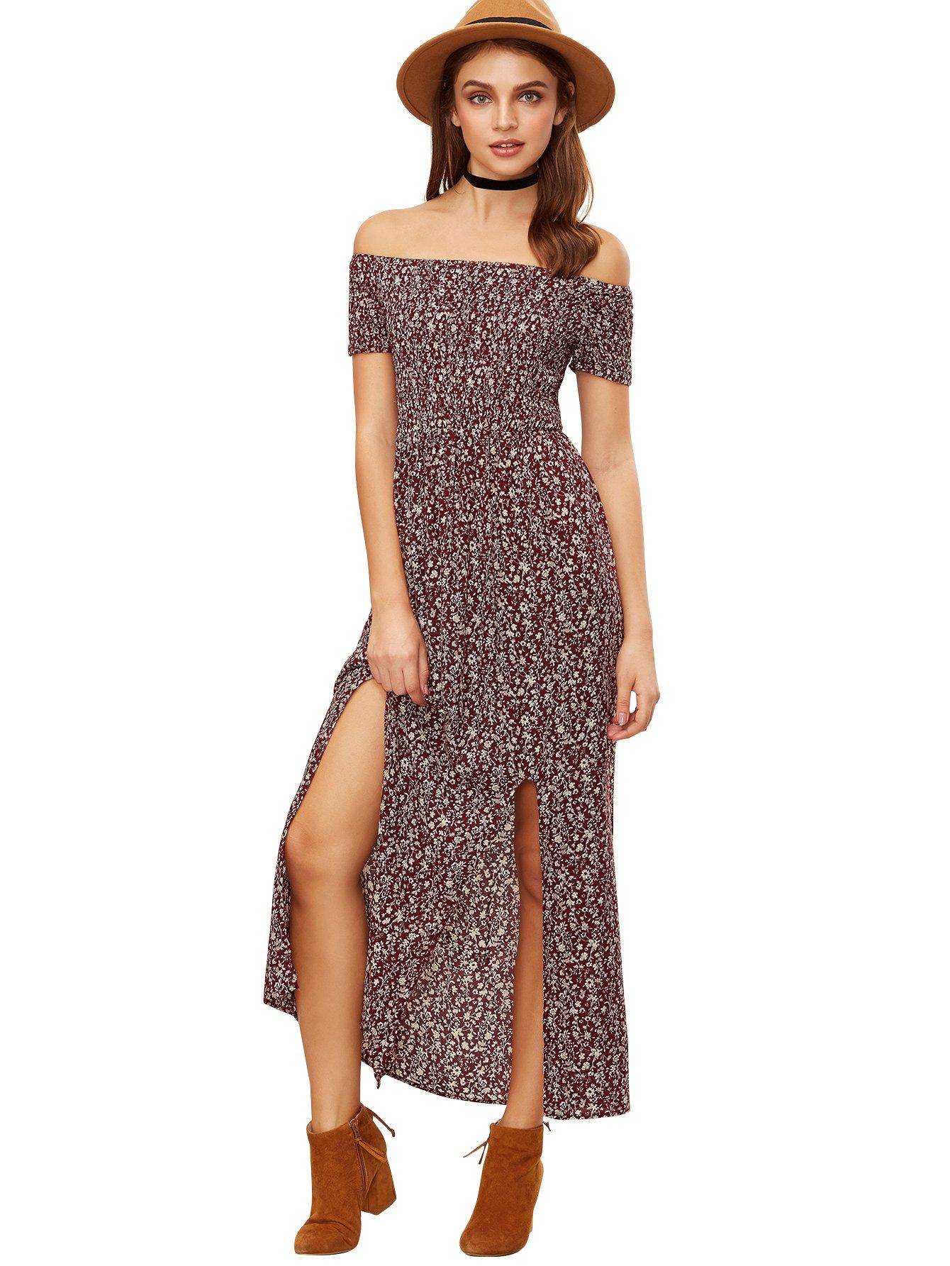 067d45b0d5eb4 Romwe Floral Maxi Dress Bohemian Print Off Shoulder Summer Beach Dress